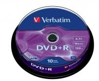 Verbatim DVD+R lemez 4,7GB AZO 16X 10db hengeren